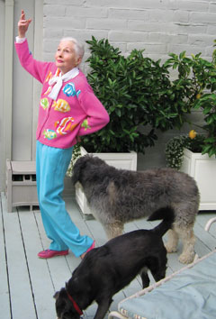 Joan at home with her dogs. Isn't she too adorable?