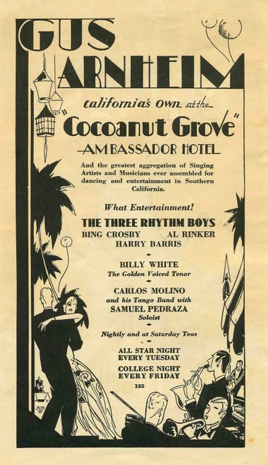 Poster ad forthe Cocoanut Grove's Gus Arnheim