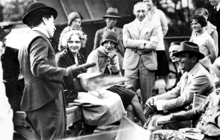 Doug Fairbanks (right) visits Chaplin on the City Lights set, creating a rare moment of good humor on the troubled shoot.