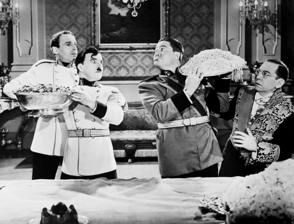 Chaplin as Adenoid Hinkel and Jack Oakie as Napolino.