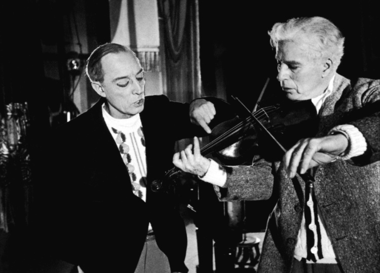 Buster Keaton and Charlie work through a scene in Limelight, 1952