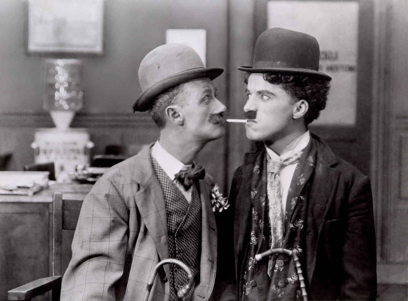 Chaplin with Ben Turpin, His New Job - 1914