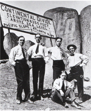 On tour in America, 1913. Chaplin (2nd from right) and his roomie Stan Laurel (3rd from right)
