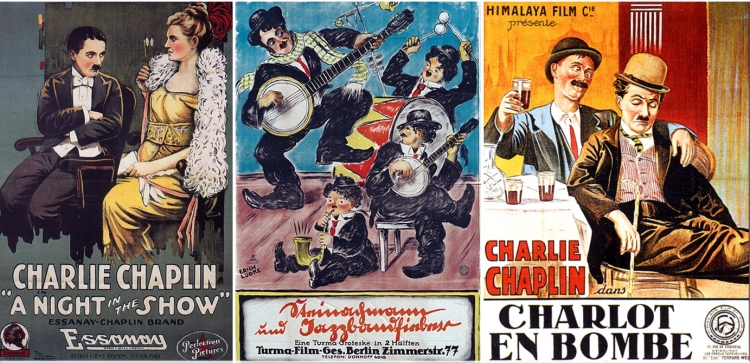 English, German and French poster art from the Essanay period demonstrate Chaplin's international popularity.