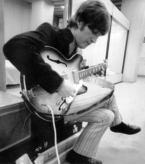 John and his Epiphone casino, 1965