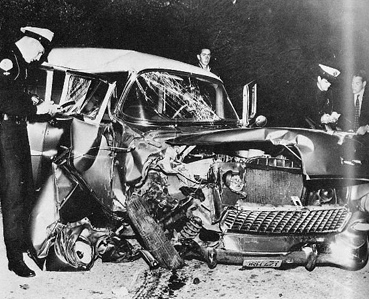 Montgomery Clift's totaled car from the accident.