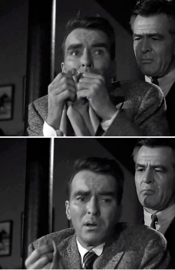Montgomery Clift with Robert Ryan in LONELYHEARTS